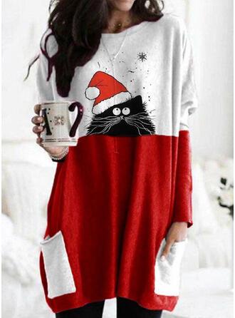 Christmas Print Color Block Animal Round Neck Long Sleeves Christmas Sweatshirt