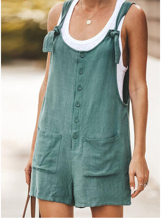 Solid Cotton Strap Sleeveless Casual Vacation Romper